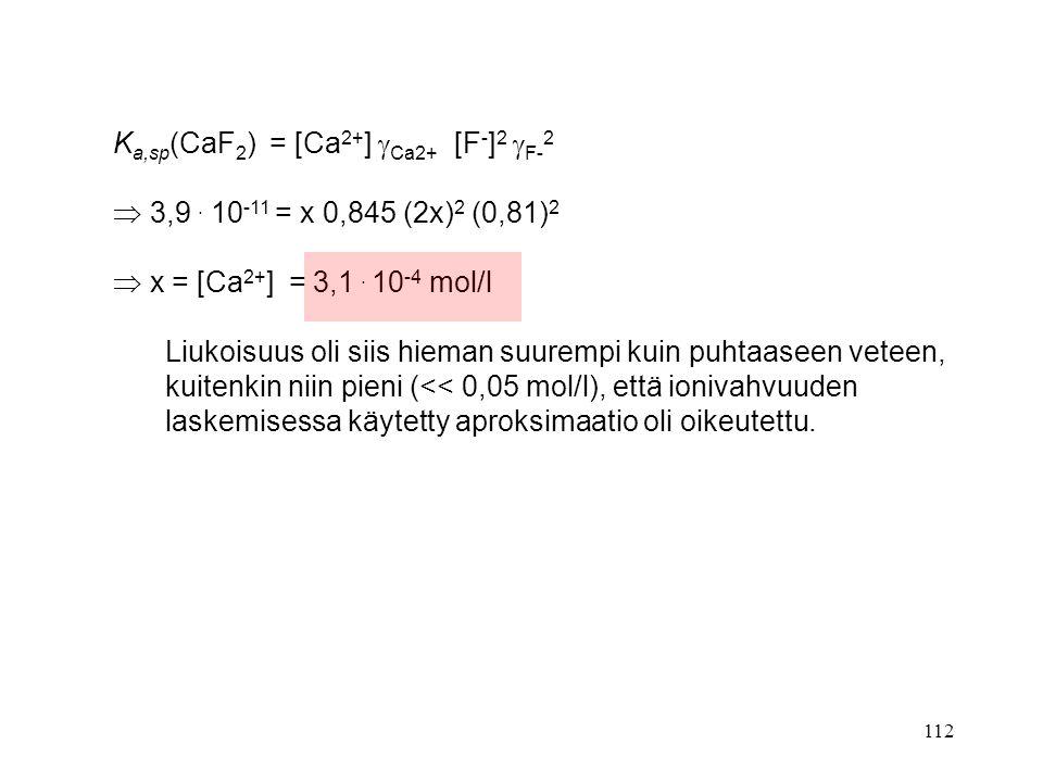 Ka,sp(CaF2) = [Ca2+] Ca2+ [F-]2 F-2